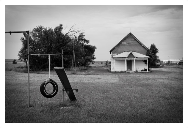 Latimer, Kansas - school house and playground